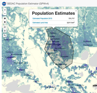 screenshot of the SEDAC Population Estimator
