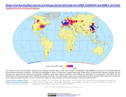 Map of Global 3-year running mean ground-level nitrogen dioxide (NO2) grids from GOME, SCIAMACHY and GOME-2, 2010-2012