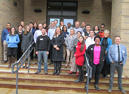 "Group photo of participants in the University of Colorado Boulder conference, ""Climate Change, Human Migration and Health"
