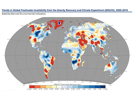 global map of freshwater availability trends imaged from the Gravity Recovery and Climate Experiment (GRACE)