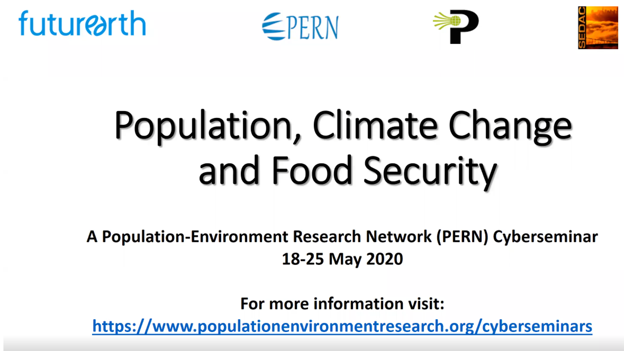 Title Slide for PERN Webinar: Population, Climate Change, and Food Security