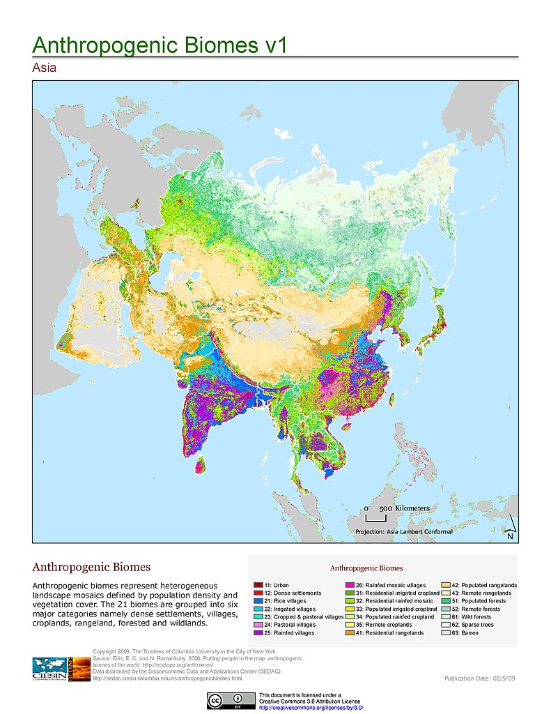 Anthropogenic Biomes, V1: Asia