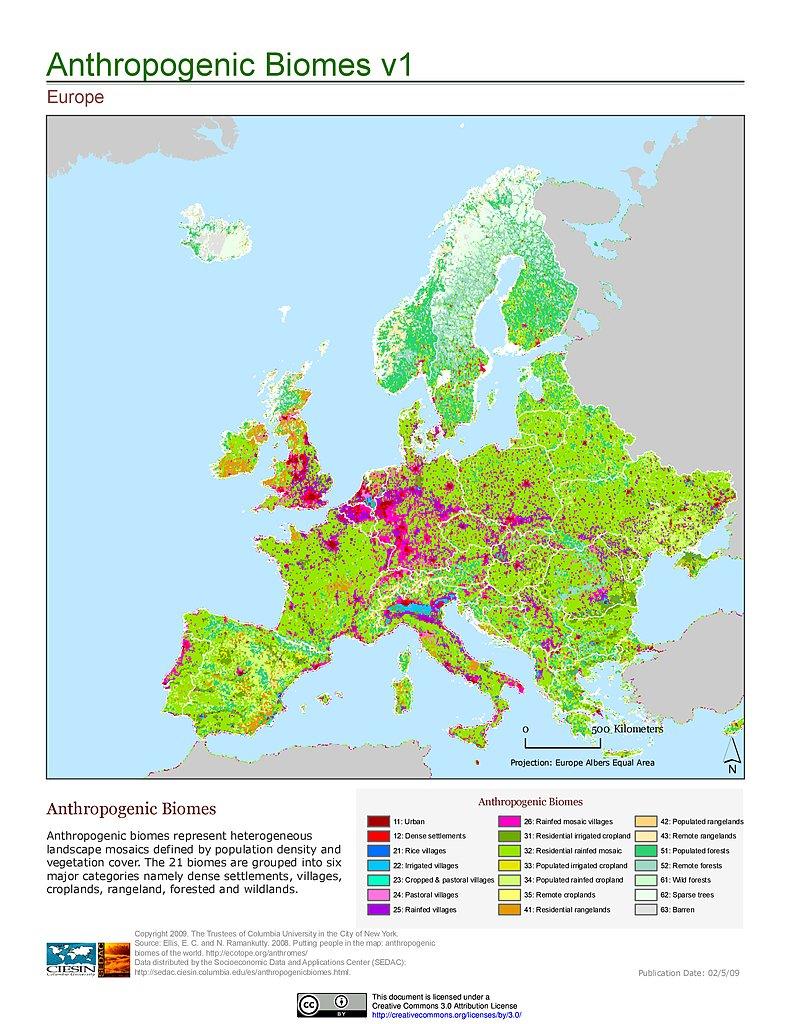 Maps Anthropogenic Biomes of the World v1 SEDAC