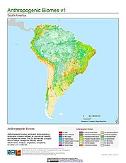 Map: Anthropogenic Biomes, v1: South America