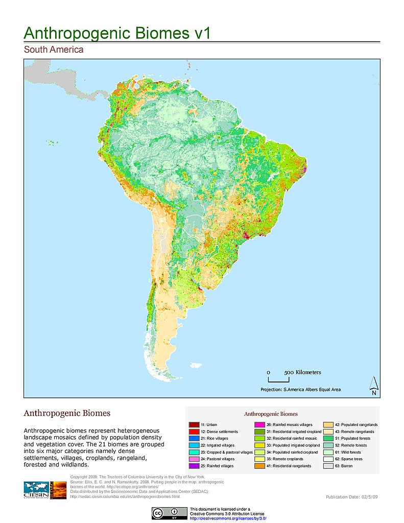 Maps anthropogenic biomes of the world v1 sedac anthropogenic biomes v1 south america gumiabroncs Choice Image