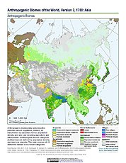 Map: Anthropogenic Biomes, v2 (1700): Asia