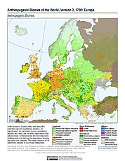 Map: Anthropogenic Biomes, v2 (1700): Europe