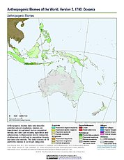 Map: Anthropogenic Biomes, v2 (1700): Oceania