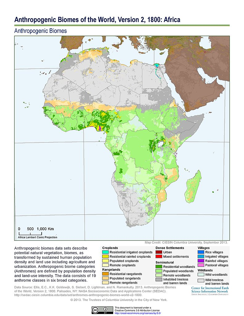 Map Of Africa In 1800.Maps Anthropogenic Biomes Sedac