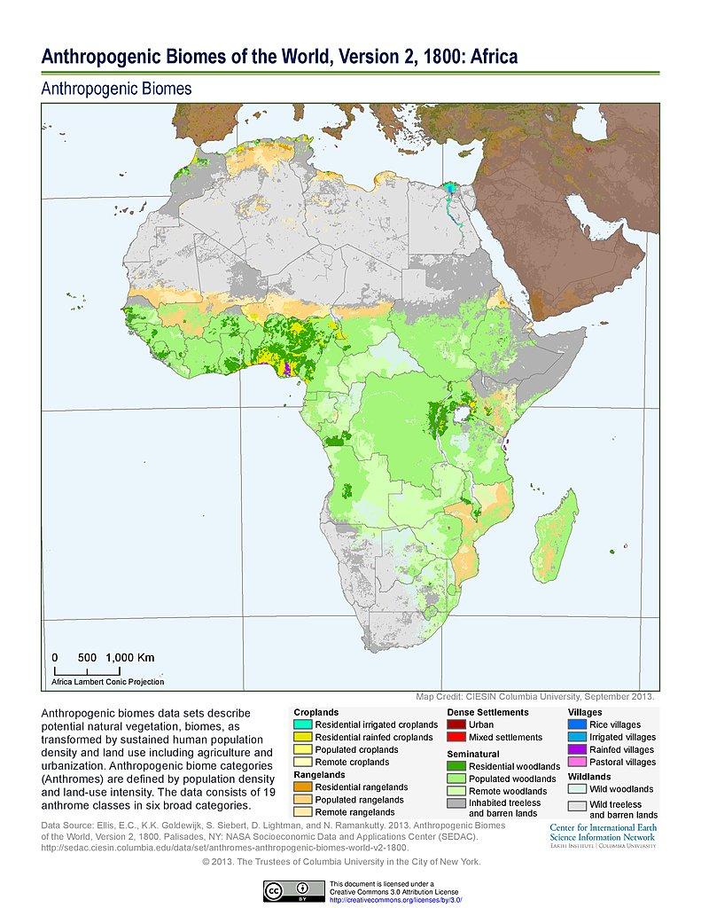 Map Of Africa 1800.Maps Anthropogenic Biomes Sedac