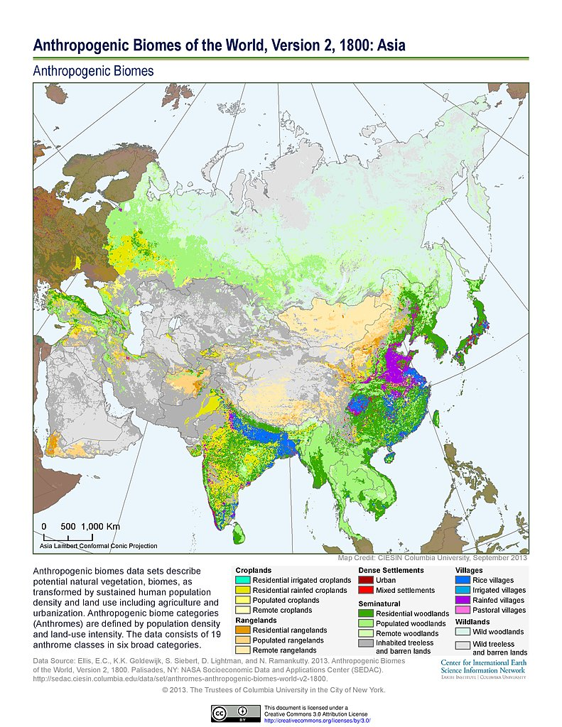 Map Of The World In 1800.Maps Anthropogenic Biomes Of The World V2 Sedac