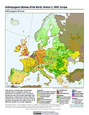 Map: Anthropogenic Biomes, v2 (1800): Europe