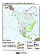 Map: Anthropogenic Biomes, v2 (1800): North America