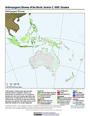 Map: Anthropogenic Biomes, v2 (1800): Oceania