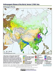 Map: Anthropogenic Biomes, v2 (1900): Asia