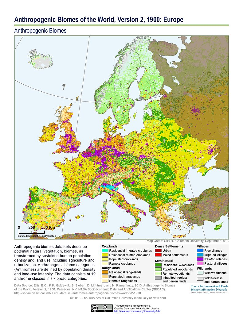 Anthropogenic Biomes, V2 (1900): Europe