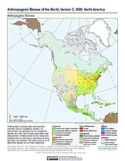 Map: Anthropogenic Biomes, v2 (1900): North America