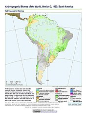 Map: Anthropogenic Biomes, v2 (1900): South America