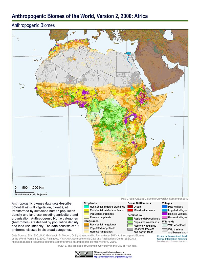 Maps anthropogenic biomes sedac anthropogenic biomes v2 2000 africa gumiabroncs Choice Image