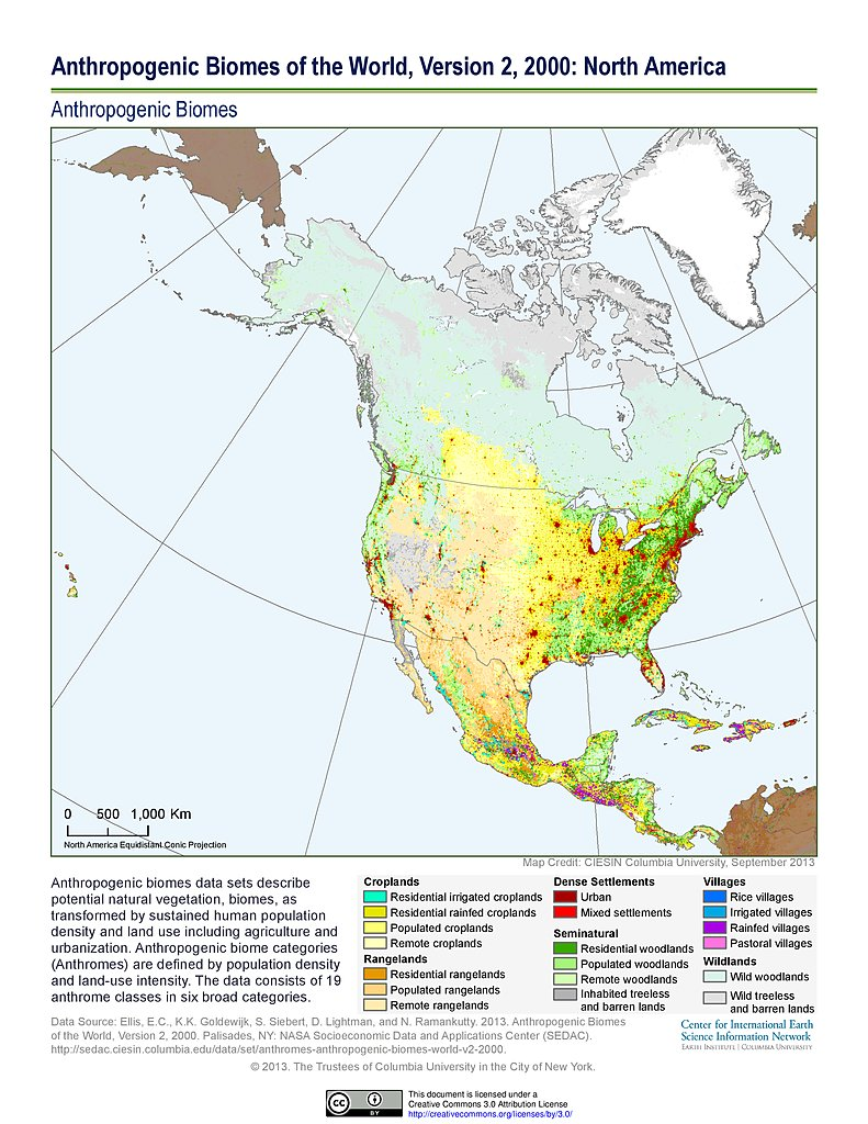 Maps anthropogenic biomes of the world v2 sedac anthropogenic biomes v2 2000 north america gumiabroncs Images