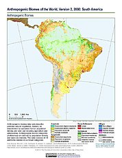 Map: Anthropogenic Biomes, v2 (2000): South America