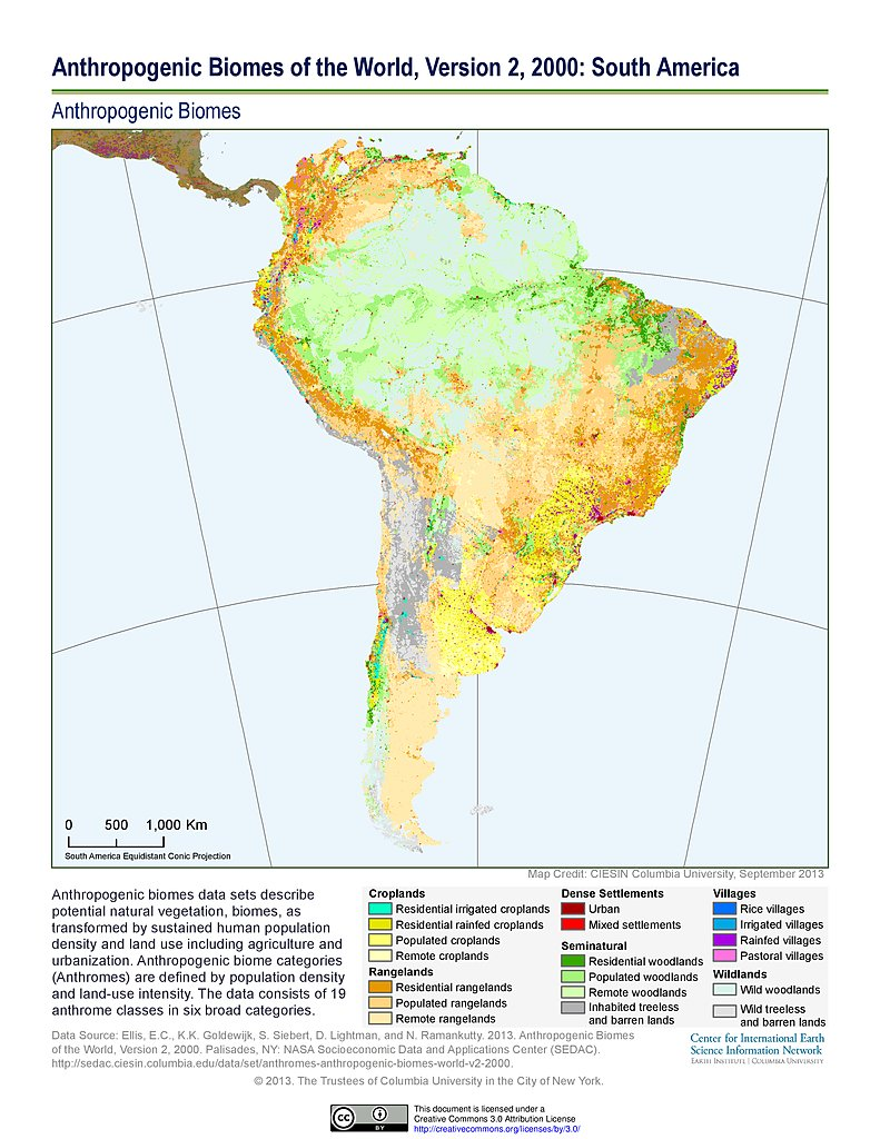 Map gallery sedac anthropogenic biomes v2 2000 south america gumiabroncs Image collections