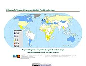 Map: Projected % Change in Grain Yield, SRES A1F (2050)