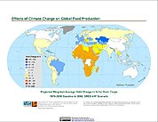 Map: Projected % Change in Grain Yield, SRES A1F (2080)