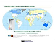 Map: Projected % Change in Grain Yield, SRES A2A (2050)