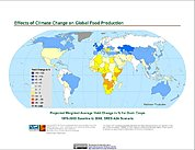 Map: Projected % Change in Grain Yield, SRES A2A (2080)