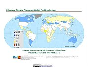 Map: Projected % Change in Grain Yield, SRES A2B (2050)