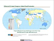 Map: Projected % Change in Grain Yield, SRES A2C (2050)