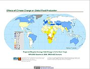 Map: Projected % Change in Grain Yield, SRES A2C (2080)