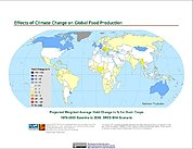 Map: Projected % Change in Grain Yield, SRES B1A (2050)
