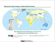 Map: Projected % Change in Grain Yield, SRES B1A (2080)