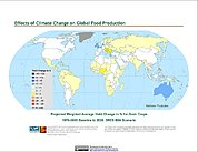 Map: Projected % Change in Grain Yield, SRES B2A (2020)
