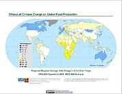 Map: Projected % Change in Grain Yield, SRES B2A (2080)
