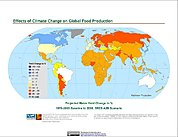 Map: Projected % Change in Maize Yield, SRES A2B (2050)
