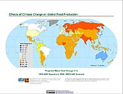 Map: Projected % Change in Maize Yield, SRES A2C (2050)