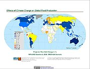 Map: Projected % Change in Rice Yield, SRES A2A (2050)