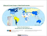 Map: Projected % Change in Rice Yield, SRES A2B (2020)