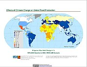 Map: Projected % Change in Rice Yield, SRES A2B (2080)