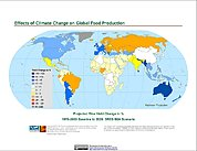Map: Projected % Change in Rice Yield, SRES B2A (2020)