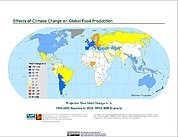Map: Projected % Change in Rice Yield, SRES B2B (2020)