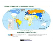 Map: Projected % Change in Rice Yield, SRES B2B (2050)