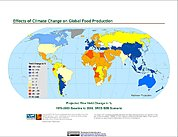 Map: Projected % Change in Rice Yield, SRES B2B (2080)