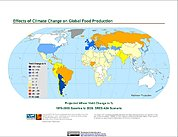 Map: Projected % Change in Wheat Yield, SRES A2A (2020)