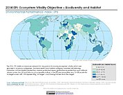 Map: Ecosystem Vitality - Agriculture, EPI 2014