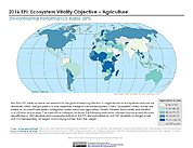 Map: Ecosystem Vitality - Agriculture, EPI 2016