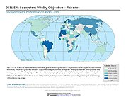 Map: Ecosystem Vitality - Fisheries, EPI 2016